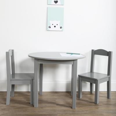 Inspire 3-Piece Grey Kids Round Table and Chair Set