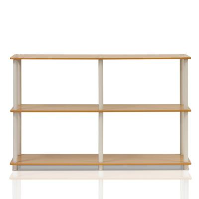 29.5 in. Beech/White Plastic 3-shelf Etagere Bookcase with Open Back