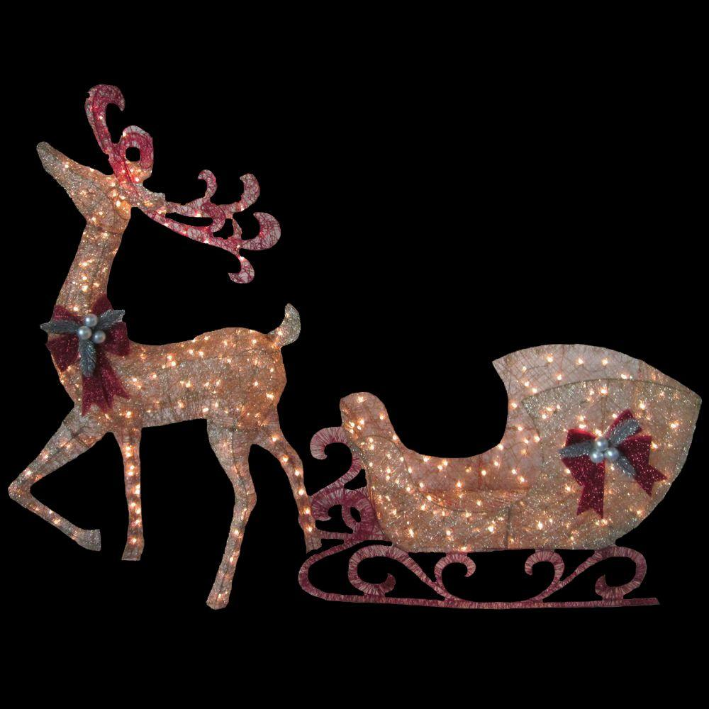 Home Accents Holiday Misty Glimmer 5 Ft Gold Reindeer With 44 In Sleigh