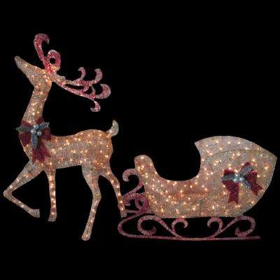 5 ft. Gold Reindeer with 44 in. Sleigh