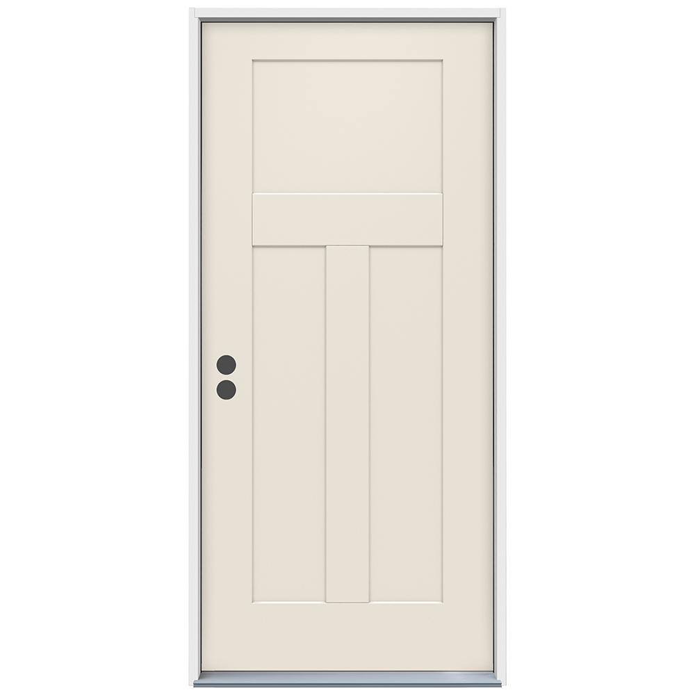 36 in. x 80 in. 3-Panel Craftsman Primed Steel Prehung Right-Hand