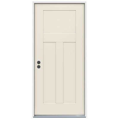 36 in. x 80 in. 3-Panel Craftsman Primed Steel Prehung Right-Hand Inswing Front Door