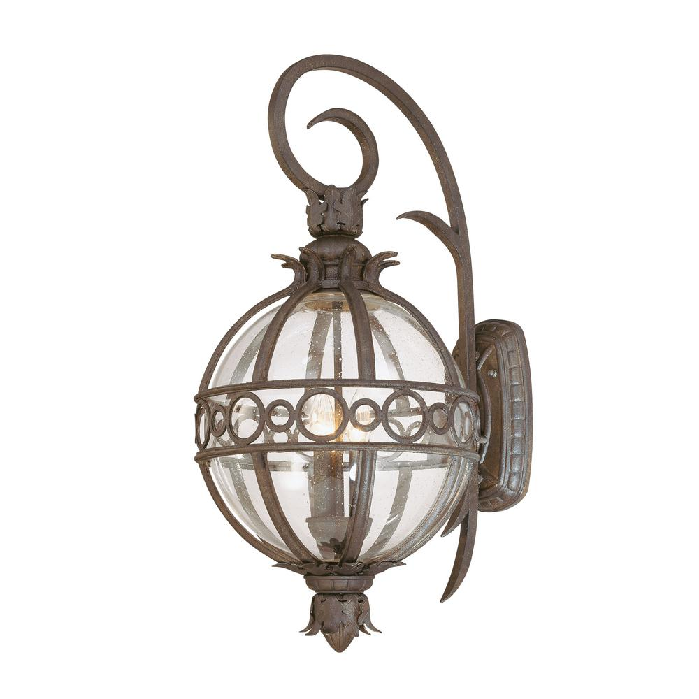 Troy Lighting Campanile 3 Light Bronze Outdoor Wall Lantern Sconce