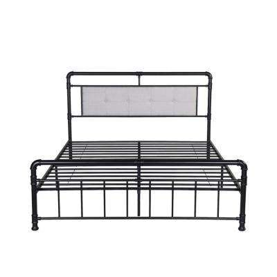 Goddard Industrial Queen-Size Flat Black Iron Bed Frame with Beige Upholstered Headboard