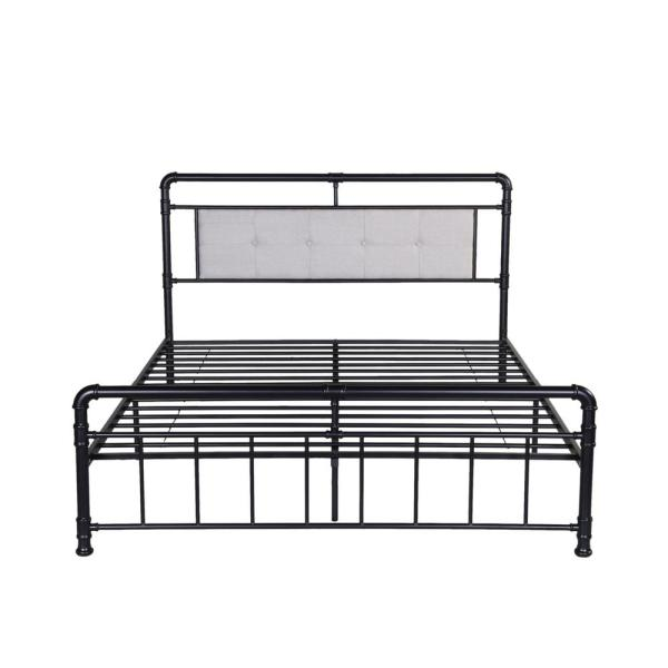 Noble House Goddard Industrial Queen Size Flat Black Iron Bed Frame With Beige Upholstered Headboard 54658 The Home Depot