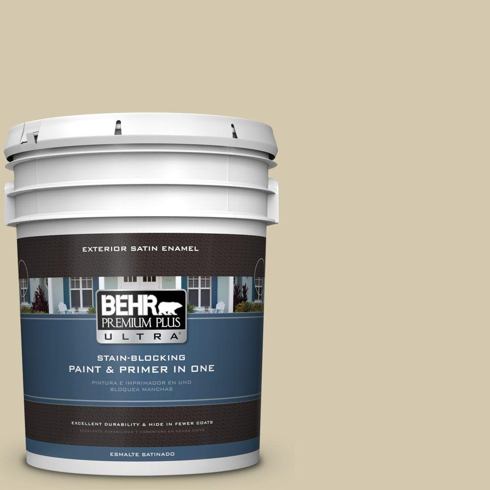 BEHR Premium Plus Ultra 5 gal. #PPU9-12 Prairie House Satin Enamel Exterior Paint and Primer in One