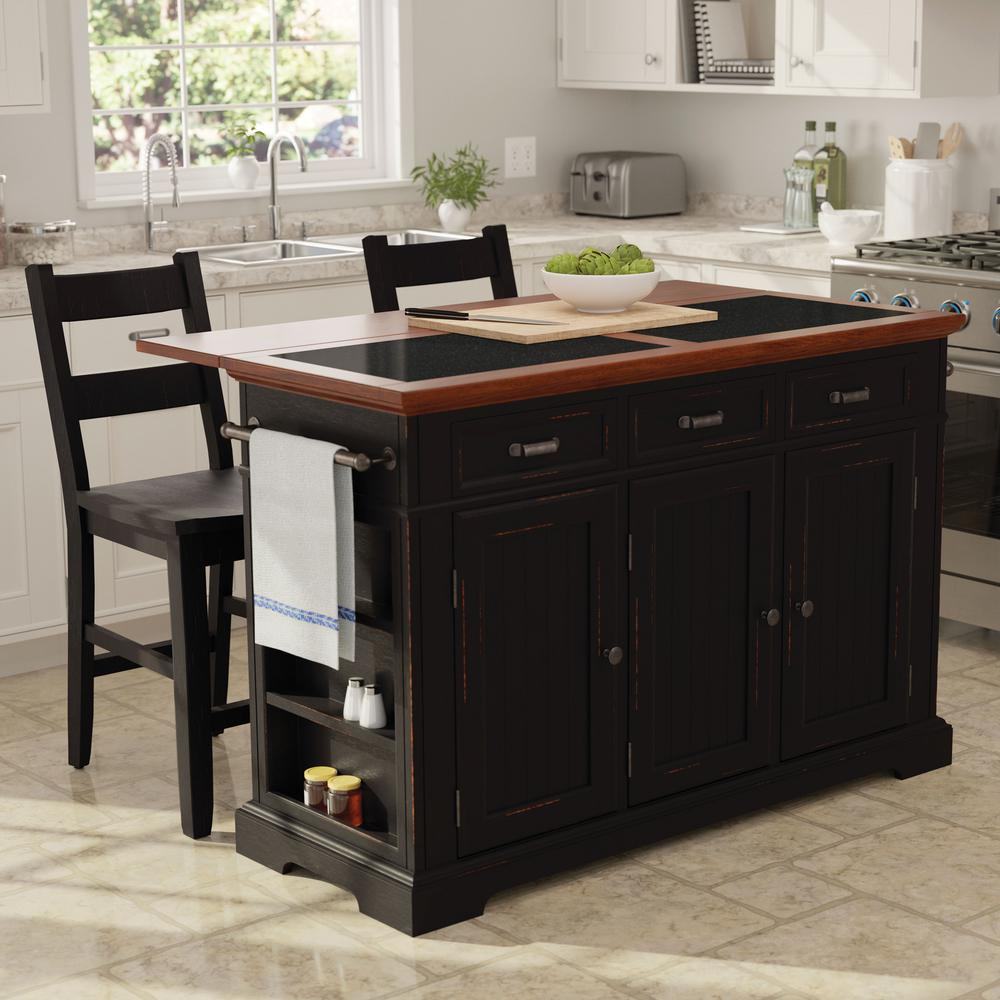 Farmhouse Basics Kitchen Island Black Finish with Vintage Oak and Granite