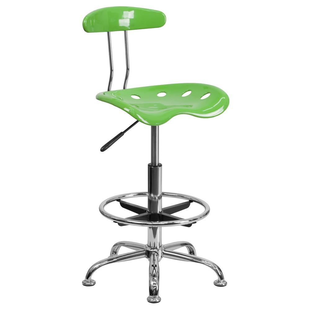 Vibrant Spicy Lime and Chrome Drafting Stool with Tractor...