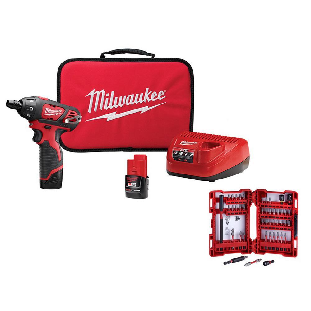 Milwaukee M12 12-Volt Lithium-Ion Cordless 1/4 inch Hex Screwdriver Kit w/ SHOCKWAVE Driver Bit Set (45-Piece)