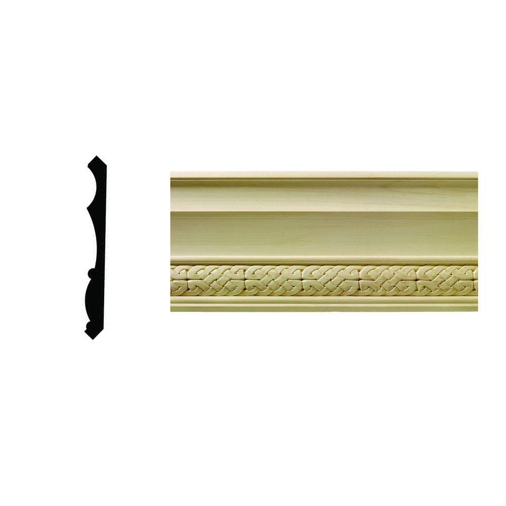 Ornamental Mouldings 1/2 in. x 5-1/4 in. x 96 in. Hardwood White Unfinished Celtic Crown Moulding