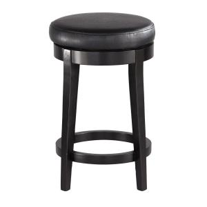 24 in. Black Cushioned Swivel Counter Stool