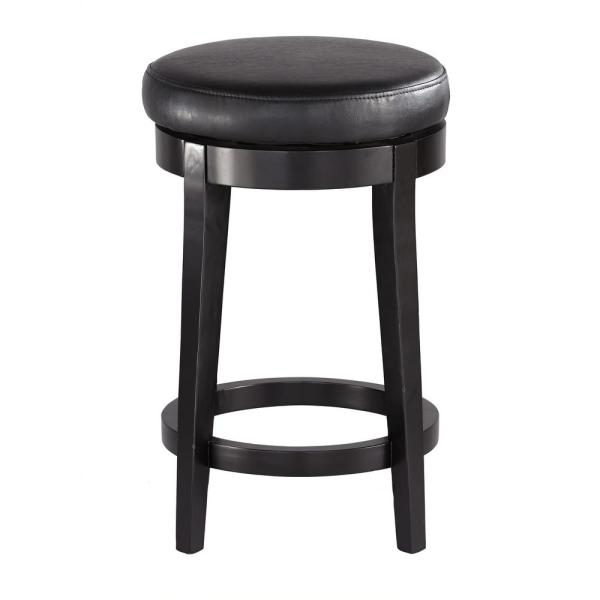 Home Decorators Collection 24 in. Black Cushioned Swivel Counter Stool
