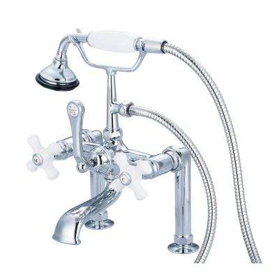 3-Handle Vintage Claw Foot Tub Faucet with Hand Shower and Porcelain Cross Handles in Triple Plated Chrome