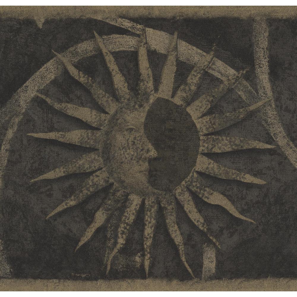 . Vintage Dark Beige Faces on Sun Damask Scroll Grey Black Prepasted  Wallpaper Border