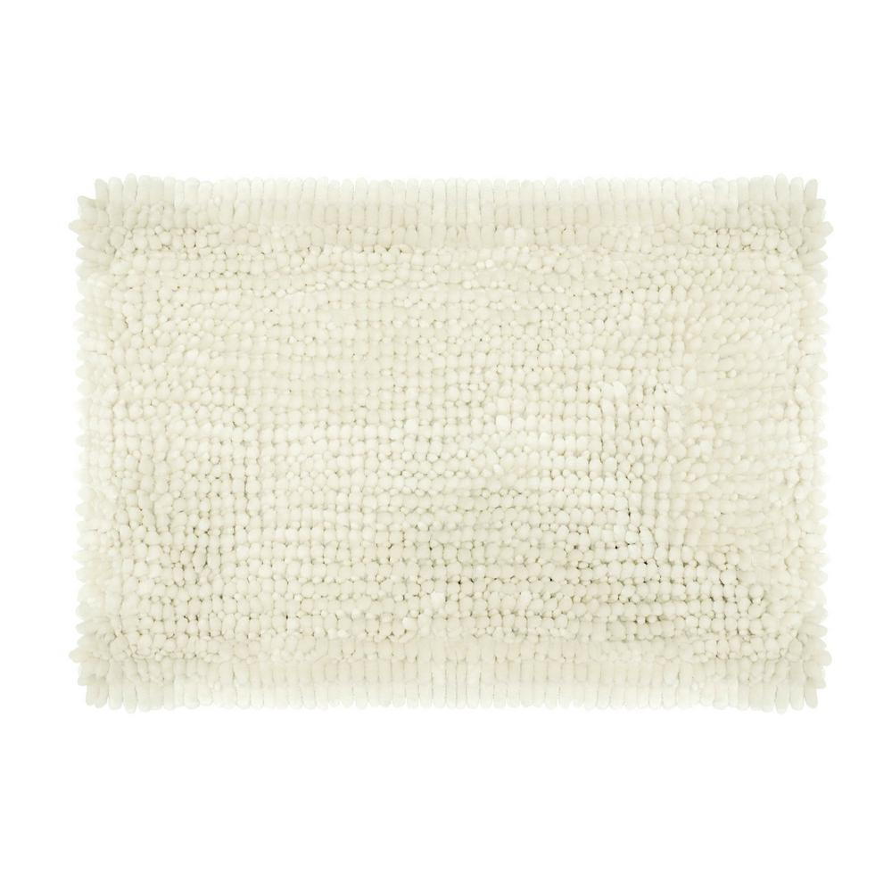 Butter Chenille 17 in. x 24 in. Bath Mat in Ivory