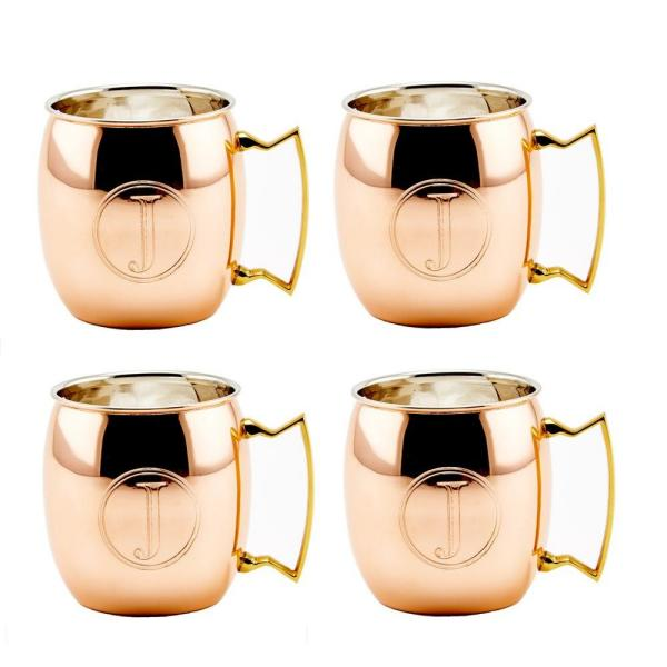 Monogrammed J Set of 4 Copper Old Dutch International Solid Moscow Mule Mug 16-Ounce