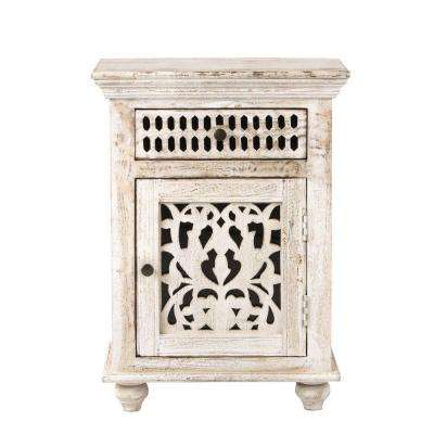 Maharaja 1-Drawer Sandblast White Nightstand