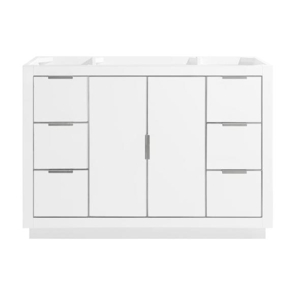 Austen 48 in. Bath Vanity Cabinet Only in White with Silver Trim