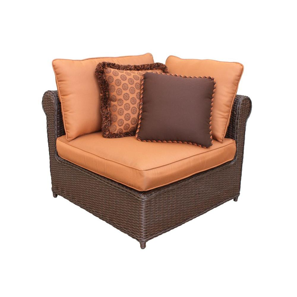 Hampton Bay Cibola Patio Sectional Corner Chair with Nutmeg Cushions