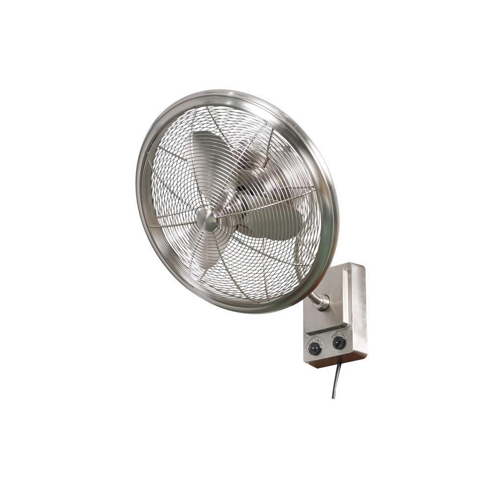 Bentley II 18 in. Indoor/Outdoor Brushed Nickel Oscillating Wall Fan