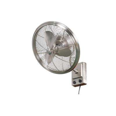 Bentley II 18 in. Indoor/Outdoor Brushed Nickel Oscillating Wall Fan