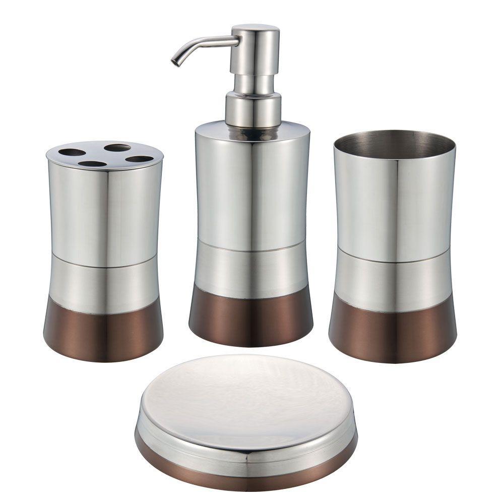 shiny bottom 4piece bath accessory