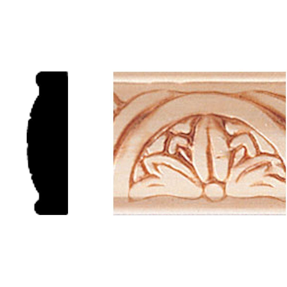 House of Fara 3/8 in. x 1-5/16 in. x 8 ft. Hardwood Repeat Flower Moulding-DISCONTINUED