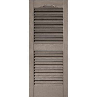 15 in. x 36 in. Louvered Vinyl Exterior Shutters Pair in #008 Clay