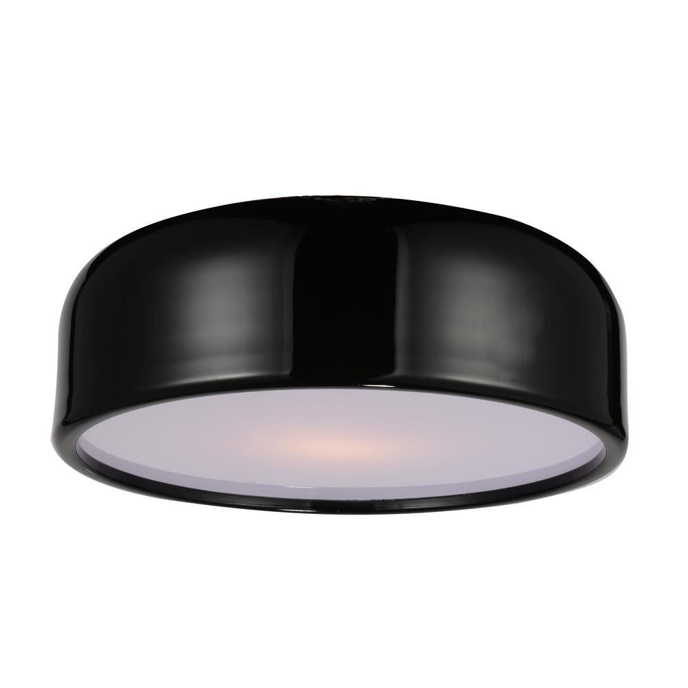 Campton 3-Light Black Flush Mount