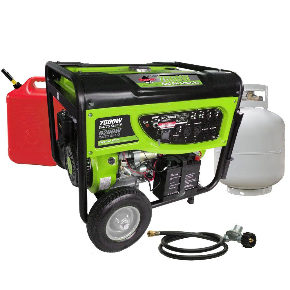 Smarter Tools GP7500DEB, 6,200-Watt Propane (LPG) or Gas Powered Generator