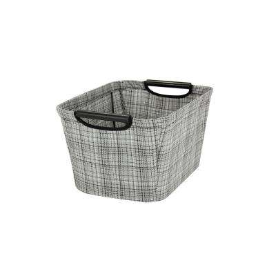 7 in. x 13 in. Tapered Canvas Storage Bin with Handles, Gray Plaid
