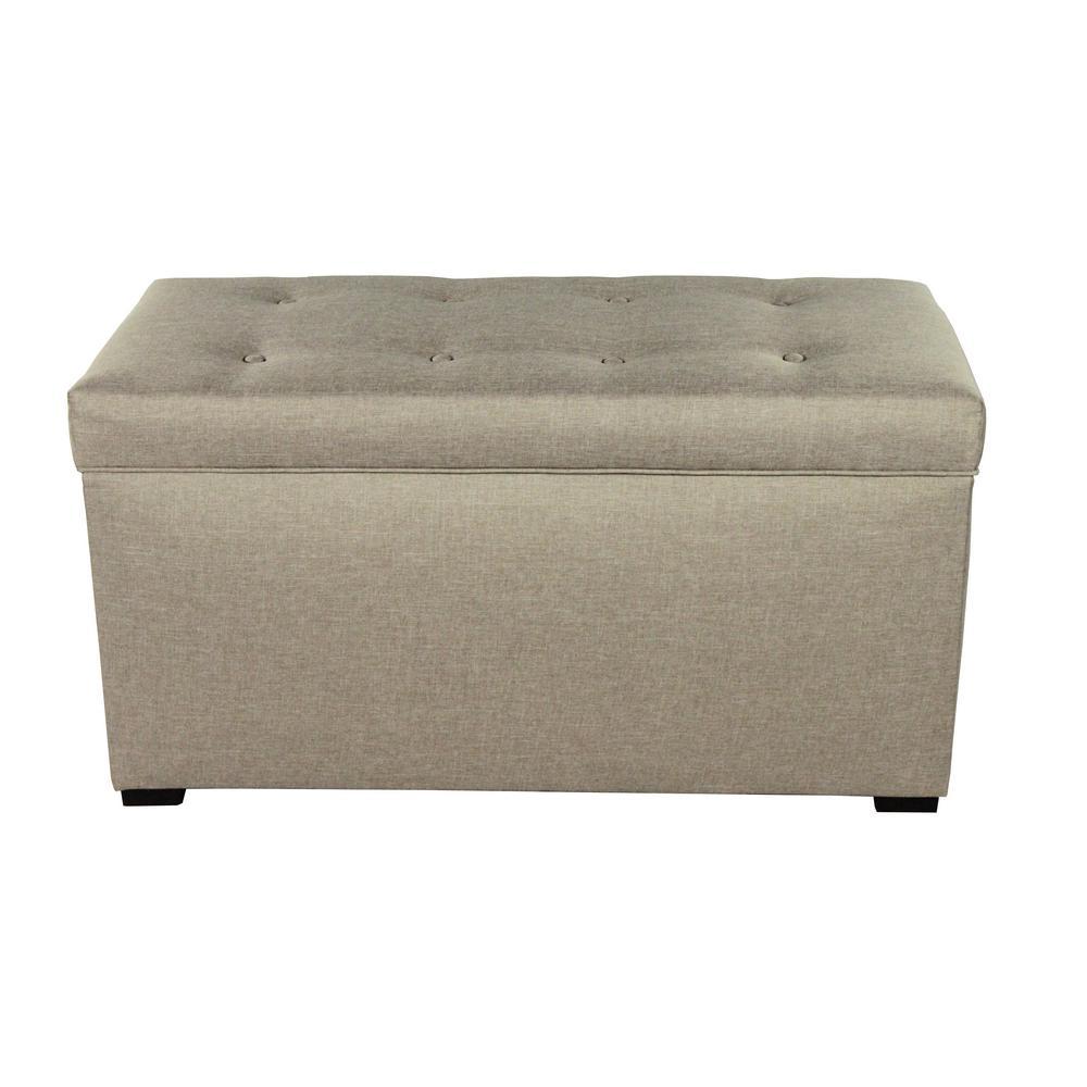 MJL Furniture Designs Angela Sachi Khaki Button Tufted Upholstered Storage Trunk