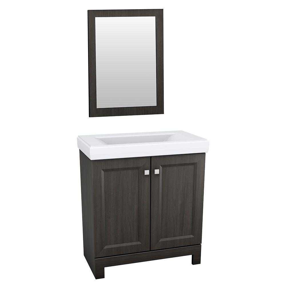 GLACIER BAY Shaila 24-1/2 in. Bath Vanity in Silverleaf with Cultured Marble Vanity Top in White with White Basin and Mirror