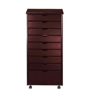 Stanton 8+1-Drawers Storage Cart in Dark Cherry