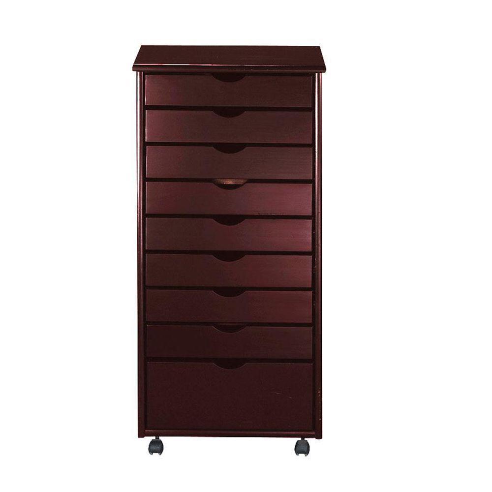 Stanton 8+1-Drawers Storage Cart in Dark Cherry