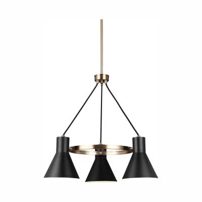Towner 3-Light Black Shade with Satin Bronze Accents Chandelier with LED Bulbs