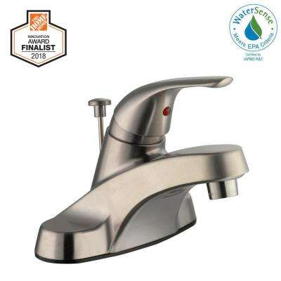 Aragon 4 in. Centerset Single-Handle Low-Arc Bathroom Faucet in Brushed Nickel