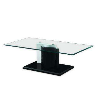 The Kernel Tempered Black and White Glass Coffee Table with Glossy Base