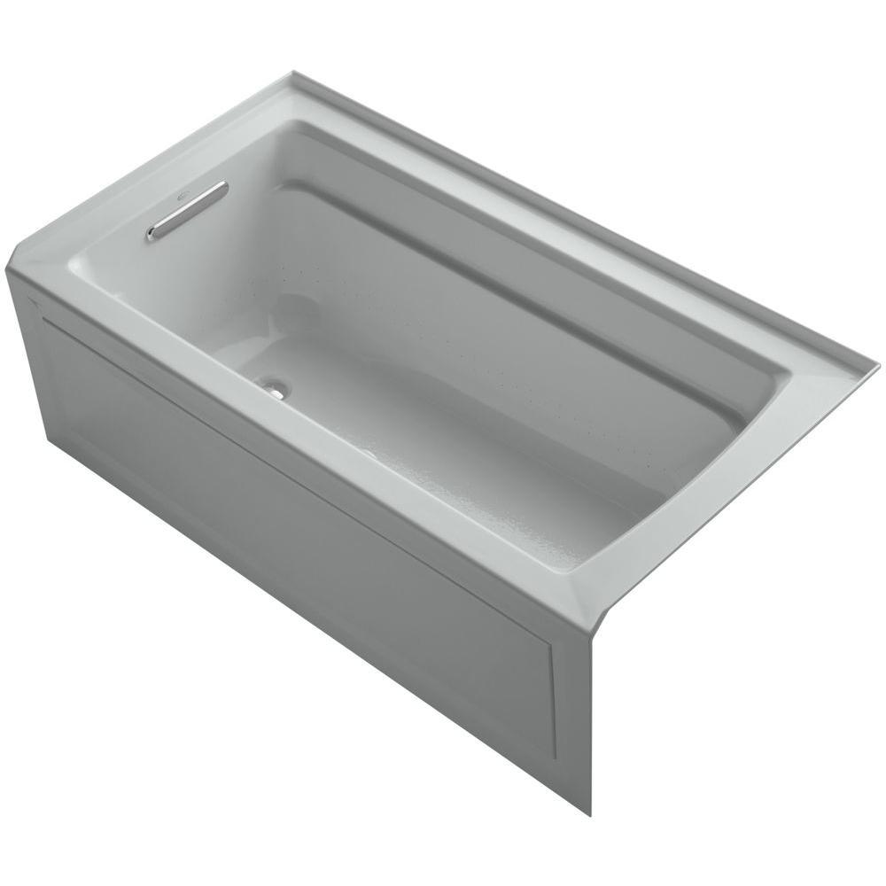 Archer 5 ft. Acrylic Left Drain Rectangular Alcove Whirlpool Bathtub in Ice Grey