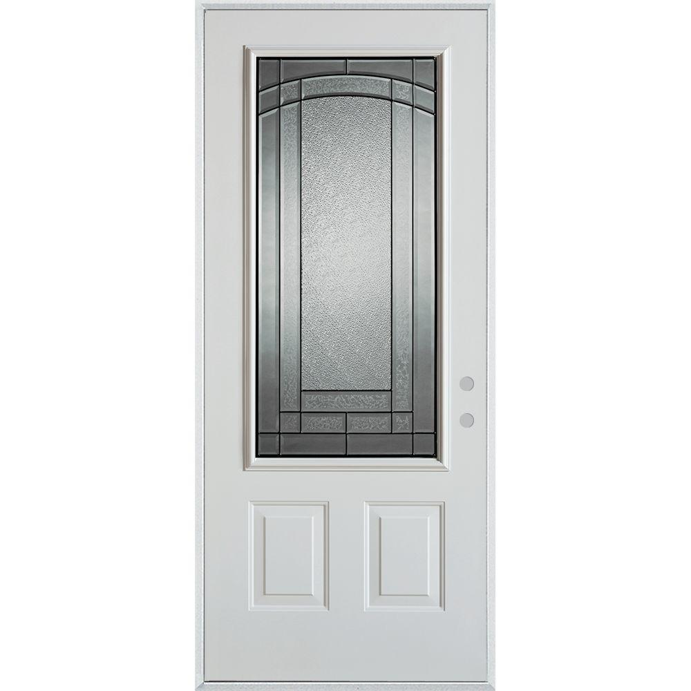 37.375 in. x 82.375 in. Chatham Patina 3/4 Lite 2-Panel Painted