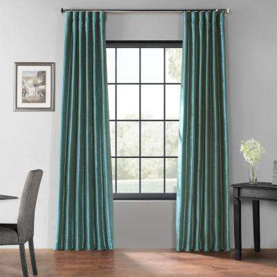 Peacock Blue Blackout Vintage Textured Faux Dupioni Curtain - 50 in. W x 96 in. L