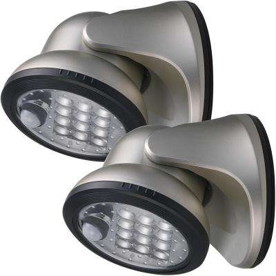 12-Light Silver Motion Activated Outdoor Integrated LED Wireless Area Light (2-pack)