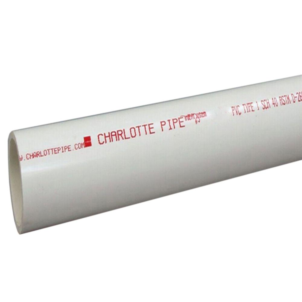 Charlotte Pipe 3 in. x 10 ft. PVC Sch. 40 Belled End Pipe