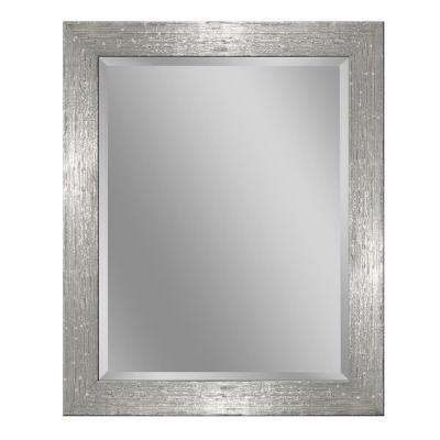 28 in. W x 34 in. H Driftwood Wall Mirror in Chrome and White