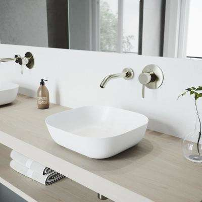 Camellia White Matte Stone Vessel Bathroom Sink Set With Olus Wall Mount Faucet In Brushed Nickel
