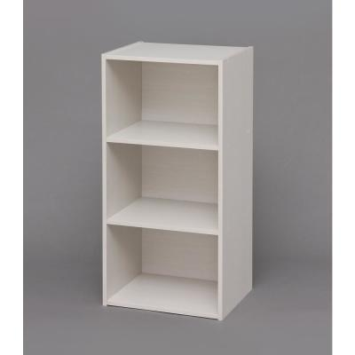 28.82 in. White Faux Wood 3-shelf Standard Bookcase with Cubes