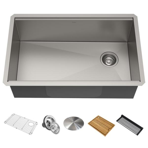 Kraus Standart Pro Undermount Stainless Steel 26 In Single Bowl Kitchen Sink Khu100 26 The Home Depot