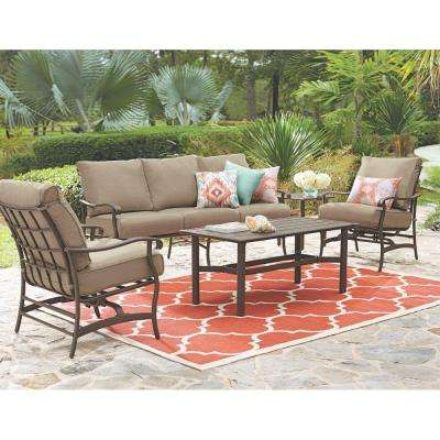 Gabriel Bronze 4-Piece Espresso Patio Deep Seating Set with Beige Cushions