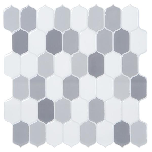 10.24 in. x 10.24 in. Oval Tears Grey Peel and Stick Tile (2.75 sq. ft./4-Pack)