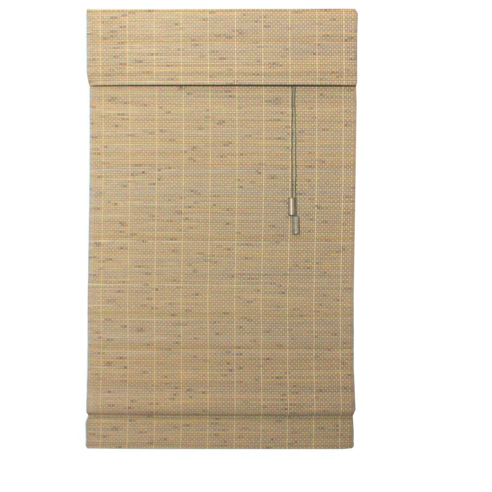 Driftwood Beveled Reed Weave Bamboo Roman Shade - 23 in. W